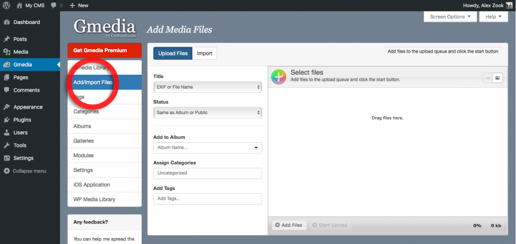 Add files to Gmedia Library