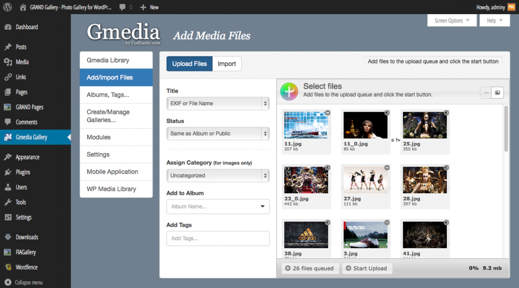 Add media files
