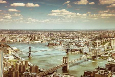 New York City - Brooklyn Bridge and Manhattan Bridge View from World Trade Center
