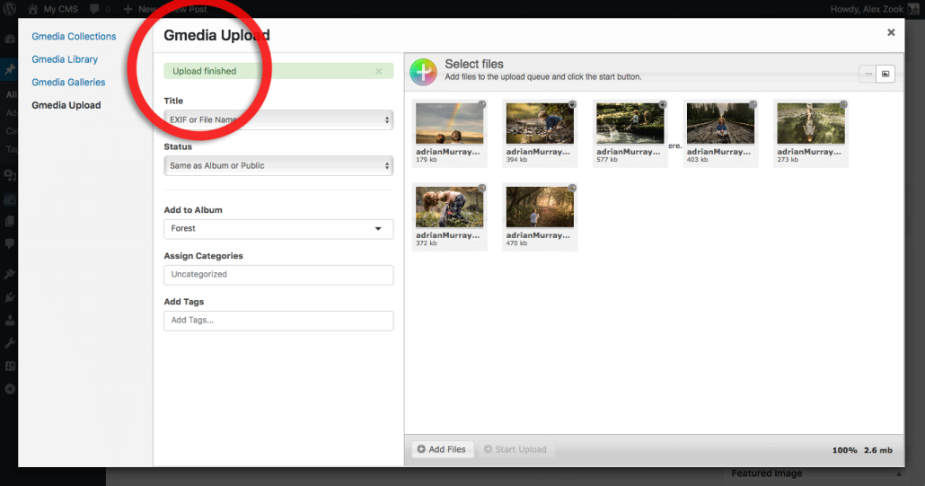 Uploading images is completed