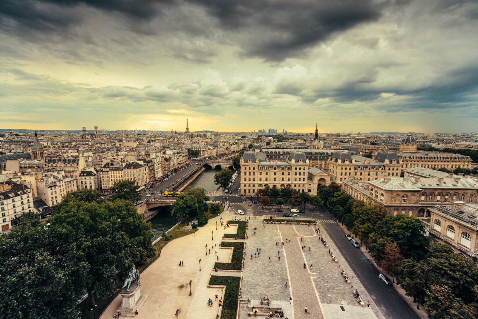 Paris - Eiffel Tower at Sunset - View from Notre Dame Cathedral
