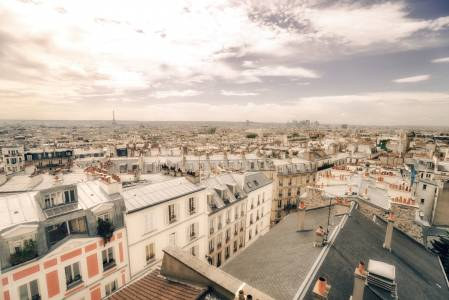 Paris Rooftops and Eiffel Tower - Above Montmartre