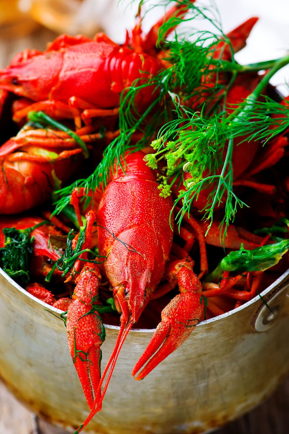 Boiled crayfish with dill
